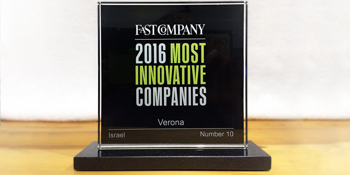 Verona is a Winner of 2016 Most Innovative Companies from Fast Company